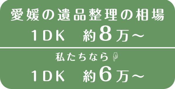 愛媛県遺品整理の1DKの相場約8万円|私たちなら1DKで約6万円